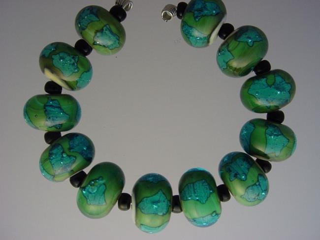Art: BG Morrow LAMPWORK Handmade Glass Art 12 Beads D294 SRA   by Artist Bonnie G Morrow