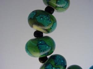 Detail Image for art BG Morrow LAMPWORK Handmade Glass Art 12 Beads D294 SRA