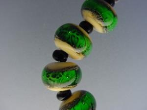 Detail Image for art BG Morrow LAMPWORK Handmade Glass Art 11 Beads D283 SRA