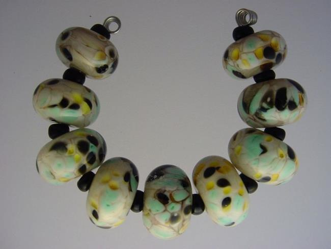 Art: BG Morrow LAMPWORK Handmade Glass Art 9 Beads D292 SRA   by Artist Bonnie G Morrow
