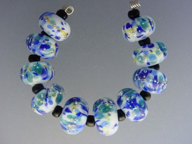 Art: BG Morrow LAMPWORK Handmade Glass Art 10 Beads D271 SRA  by Artist Bonnie G Morrow