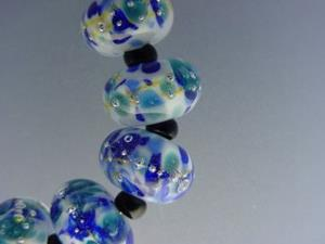 Detail Image for art BG Morrow LAMPWORK Handmade Glass Art 10 Beads D271 SRA