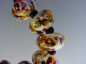 Detail Image for art BG Morrow LAMPWORK Handmade Glass Art 10 Beads D263 SRA