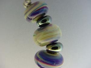 Detail Image for art BG Morrow LAMPWORK Handmade Glass Art 19 Beads D141 SRA
