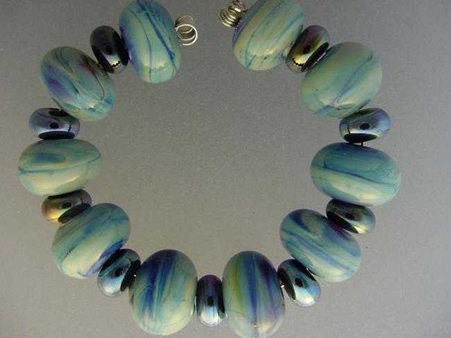 Art: BG Morrow LAMPWORK Handmade Glass Art 19 Beads D147 SRA   by Artist Bonnie G Morrow