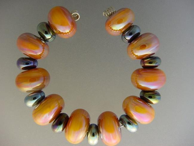 Art: BG Morrow LAMPWORK Handmade Glass Art 19 Beads D151 SRA  by Artist Bonnie G Morrow