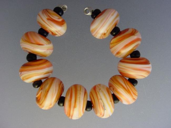 Art: BG Morrow LAMPWORK Handmade Glass Art 10 Beads D265 SRA by Artist Bonnie G Morrow
