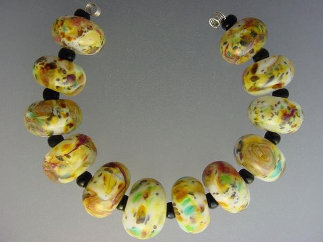 Art: BG Morrow LAMPWORK Handmade Glass Art 12 Beads D256 SRA  by Artist Bonnie G Morrow