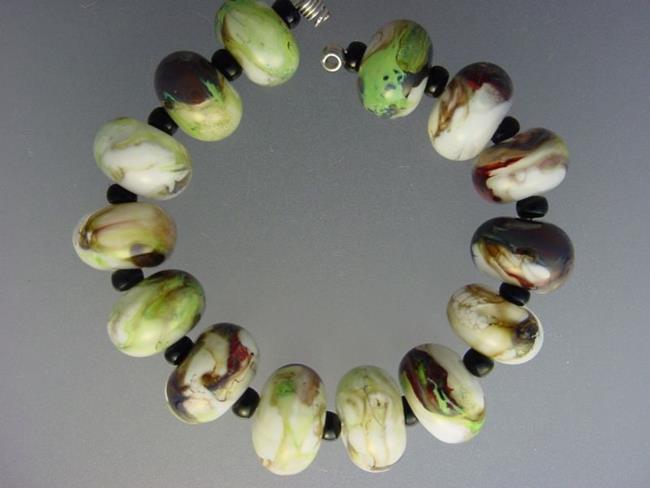 Art: BG Morrow LAMPWORK Handmade Glass Art 14 Beads D268 SRA   by Artist Bonnie G Morrow