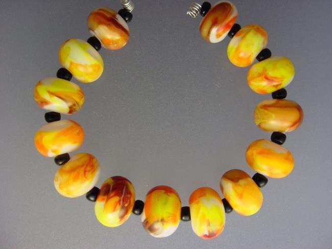 Art: BG Morrow LAMPWORK Handmade Glass Art 14 Beads D254 SRA  by Artist Bonnie G Morrow