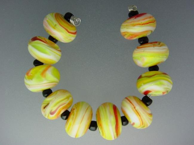 Art: BG Morrow LAMPWORK Handmade 14-15mm Glass 10 Beads D397 by Artist Bonnie G Morrow