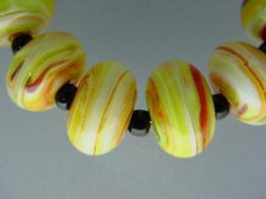 Detail Image for art BG Morrow LAMPWORK Handmade 14-15mm Glass 10 Beads D397