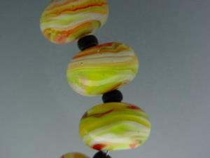 Detail Image for art BG Morrow LAMPWORK Handmade 14-15mm Glass 10 Beads D397