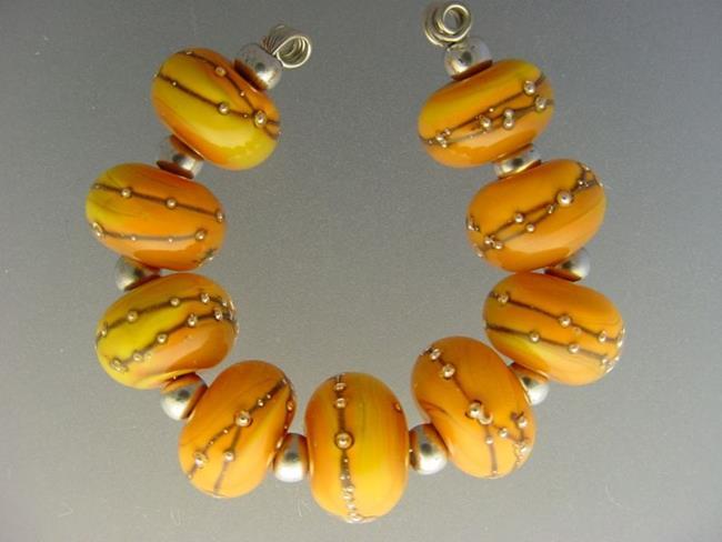 Art: BG Morrow LAMPWORK Handmade 12mm Glass 9 Beads D221 SRA   by Artist Bonnie G Morrow