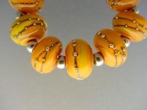 Detail Image for art BG Morrow LAMPWORK Handmade 12mm Glass 9 Beads D221 SRA