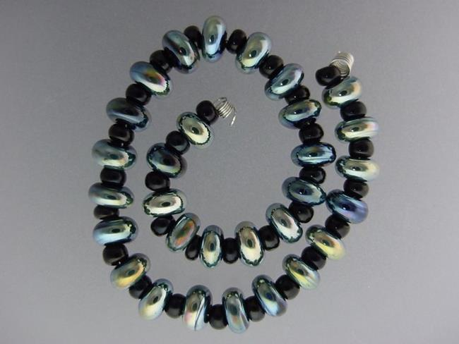 Art: BG Morrow LAMPWORK Handmade 7-8mm Glass 30 Beads D366 by Artist Bonnie G Morrow