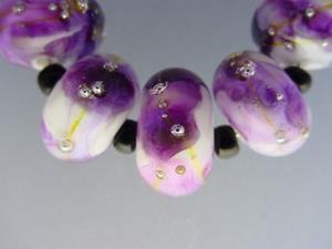Detail Image for art BG Morrow LAMPWORK Handmade Glass Art 7 Beads D274 SRA