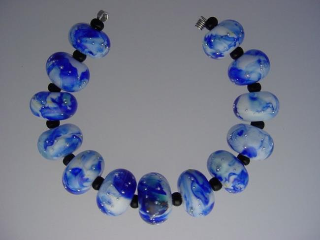 Art: BG Morrow LAMPWORK Handmade Glass Art 13 Beads D296 SRA  by Artist Bonnie G Morrow