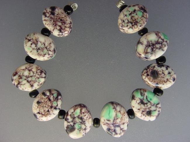 Art: BG Morrow LAMPWORK Handmade 14x11mm Glass 10 Beads D290 SRA by Artist Bonnie G Morrow