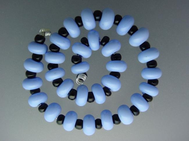Art: BG Morrow LAMPWORK Handmade 7-8mm Glass 30 Beads D381  by Artist Bonnie G Morrow