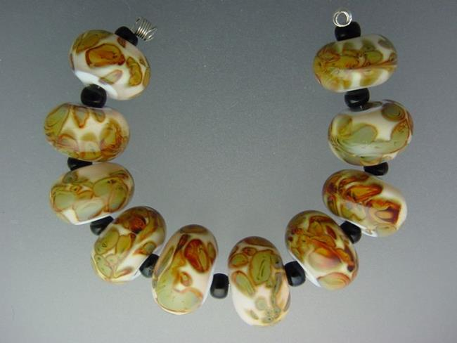 Art: BG Morrow LAMPWORK Handmade 14-15mm Glass 10 Beads D395  by Artist Bonnie G Morrow