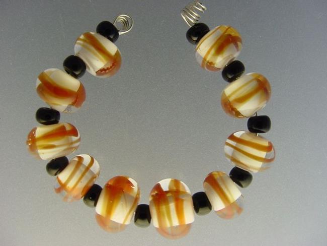 Art: BG Morrow LAMPWORK Handmade Glass Art 10 Beads D234 SRA  by Artist Bonnie G Morrow