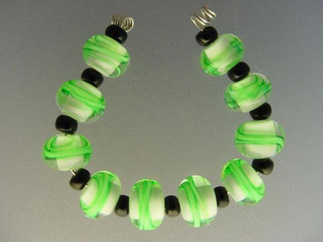 Art: BG Morrow LAMPWORK Handmade Glass Art 10 Beads D232 SRA  by Artist Bonnie G Morrow
