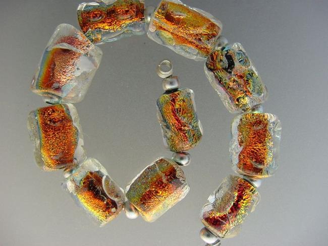 Art: BG Morrow LAMPWORK Handmade Glass Art 10 Beads D162 SRA by Artist Bonnie G Morrow