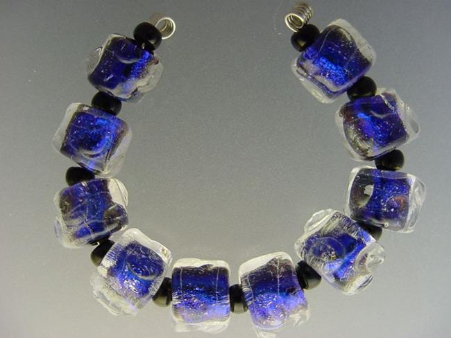 Art: BG Morrow LAMPWORK Handmade Glass Art 10 Beads D220 SRA by Artist Bonnie G Morrow