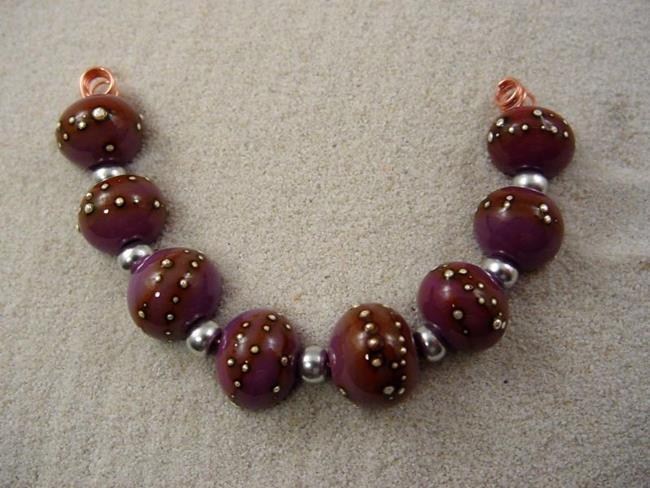 Art: Ambrosia SILVER WRAPS 804 Lampwork 8 Beads 10-12mm Handmade by Artist Bonnie G Morrow