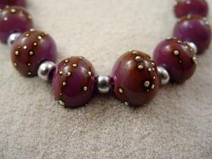 Detail Image for art Ambrosia SILVER WRAPS 804 Lampwork 8 Beads 10-12mm Handmade