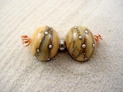 Art: Ambrosia SILVER WRAPS 828 Lampwork 2 Beads 14mm Handmade by Bonnie G Morrow