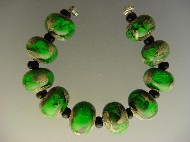 Art: BG Morrow LAMPWORK Handmade Glass Art 10 Beads D242 SRA  by Artist Bonnie G Morrow