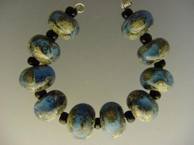 Art: BG Morrow LAMPWORK Handmade Glass Art 10 Beads D241 SRA by Artist Bonnie G Morrow