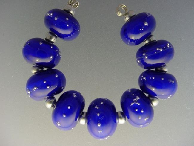 Art: BG Morrow LAMPWORK Handmade 13mm Glass 9 Beads D215 SRA by Artist Bonnie G Morrow