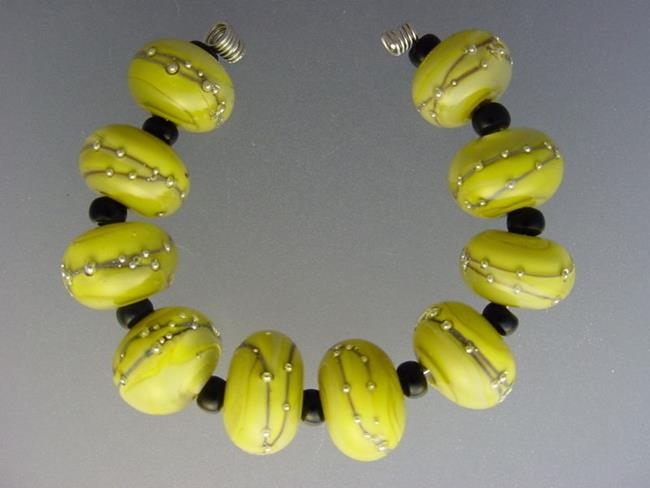 Art: BG Morrow LAMPWORK Handmade Glass Art 10 Beads D289 SRA by Artist Bonnie G Morrow