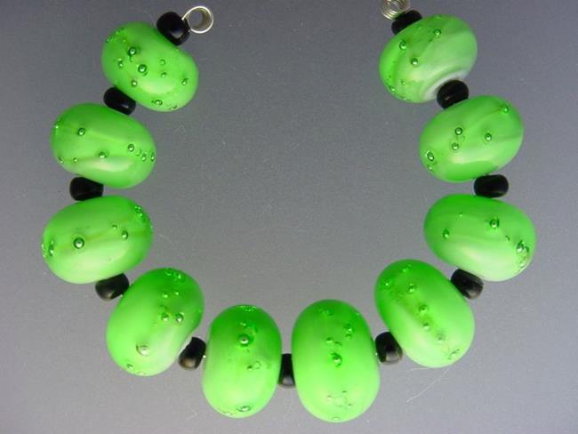 Art: BGMorrow LAMPWORK Handmade Art Glass Art 10 Beads D247 by Artist Bonnie G Morrow