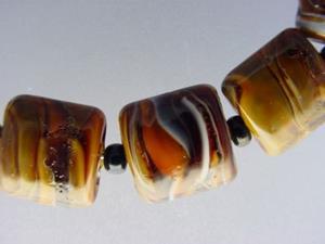 Detail Image for art BG Morrow LAMPWORK Handmade 13mm Glass 11 Beads D287 SRA