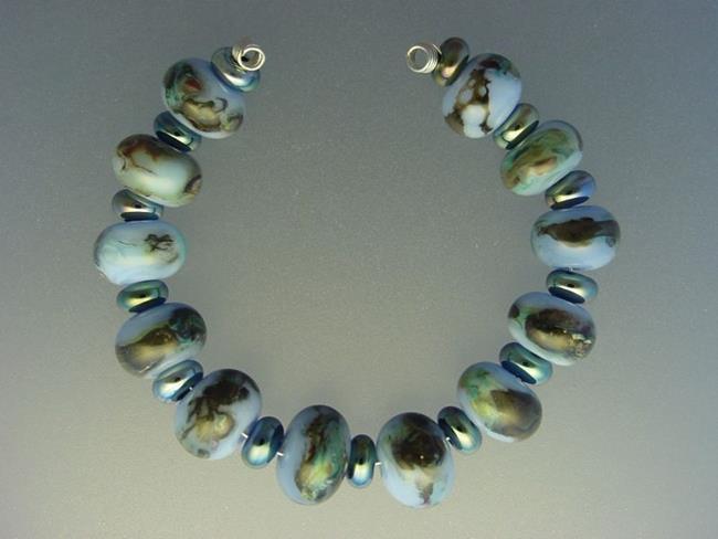 Art: BG Morrow LAMPWORK Handmade Glass Art 25 Beads D25 SRA   by Artist Bonnie G Morrow