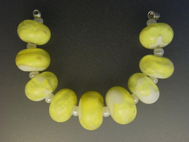 Art: BG Morrow LAMPWORK Handmade Glass Art 9 Beads D49 SRA   by Artist Bonnie G Morrow