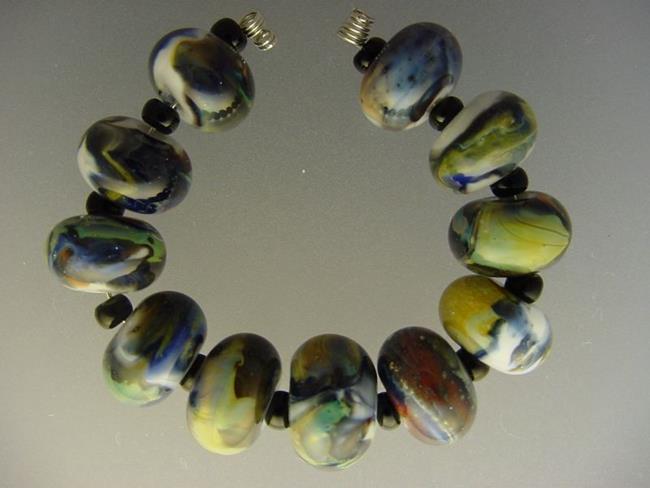 Art: BG Morrow LAMPWORK Handmade Glass Art 11 Beads D245 SRA by Artist Bonnie G Morrow