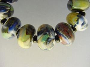 Detail Image for art BG Morrow LAMPWORK Handmade Glass Art 11 Beads D245 SRA