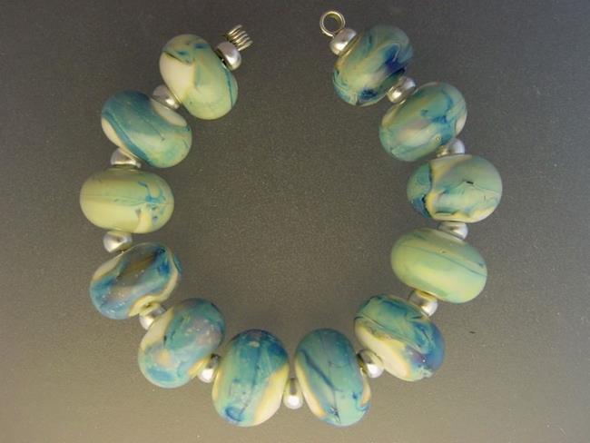 Art: BG Morrow LAMPWORK Handmade Glass Art 12 Beads D200 SRA  by Artist Bonnie G Morrow