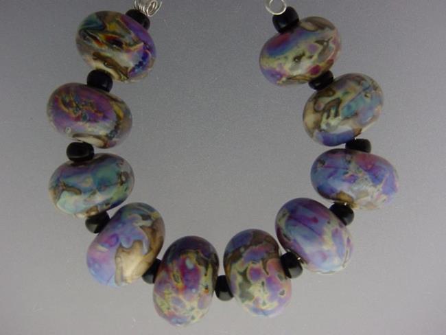 Art: BG Morrow LAMPWORK Handmade 14-15mm Glass 10 Beads D315  by Artist Bonnie G Morrow
