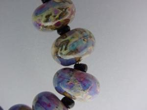 Detail Image for art BG Morrow LAMPWORK Handmade 14-15mm Glass 10 Beads D315
