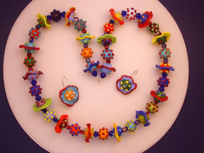 Art: Ambrosia Glass 216 NECKLACE EARRING 37 Lampwork Beads by Artist Bonnie G Morrow