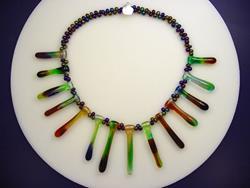 Art: Ambrosia Glass 217 NECKLACE 14 Lampwork Beads 18