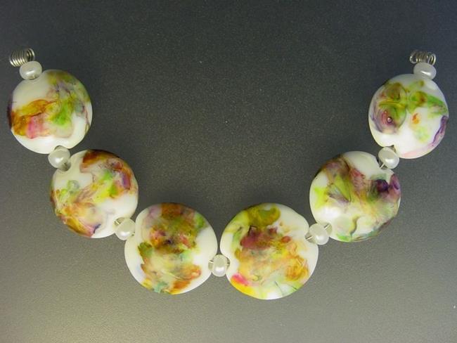 Art: BG Morrow LAMPWORK Handmade Glass Art 6 Beads D60 SRA by Artist Bonnie G Morrow