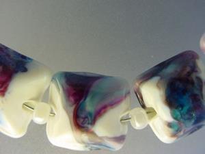 Detail Image for art BG Morrow LAMPWORK Handmade Glass Art 11 Beads D57 SRA
