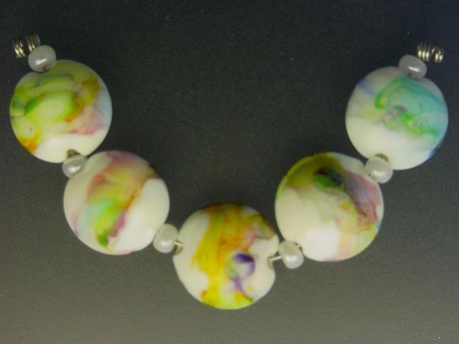 Art: BG Morrow LAMPWORK Handmade Glass Art 5 Beads D54 SRA   by Artist Bonnie G Morrow